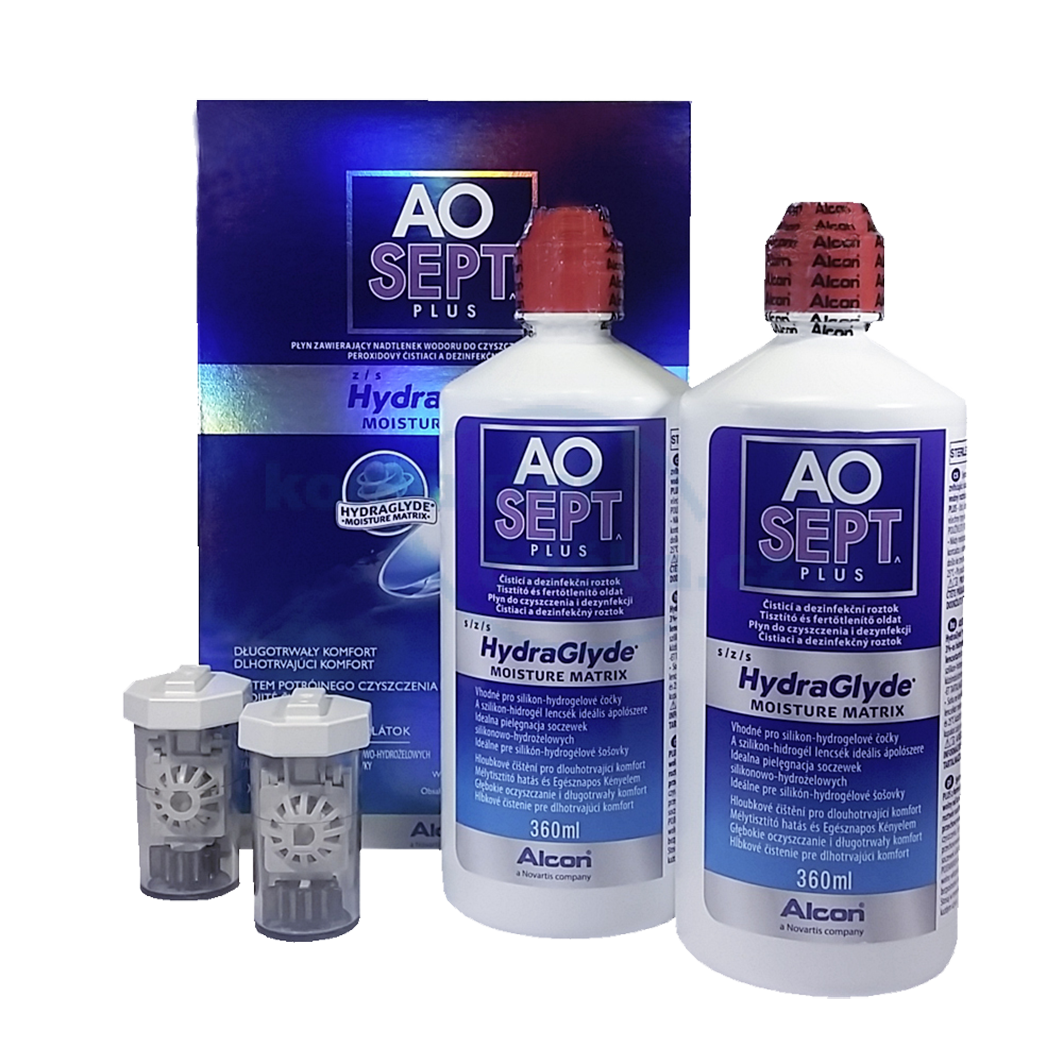 Alcon Aosept Plus HydraGlyde 2 x 360ml